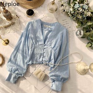 Neploe Chic V Necj Puff Long Sleeve Autumn Spring 2020 New Blouse Solid Button Design Slim Fit Blusas Autumn Spring Shirt 47947