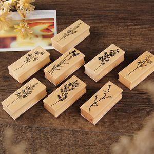 arte de DIY sellos de goma de madera Hierba de la vendimia madera serie de estampillas de madera para scrapbooking scrapbooking papelería sello estándar