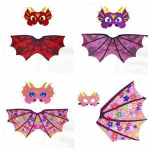 드래곤 코스프레 날개 케이프는 마스크 의상은 어린이 디자이너 의류 공룡 드레스 의상 사진 소품 할로윈 소품 파티 지프의 A4862을 설정합니다