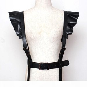 New Hot Personality Style Both Shoulders PU Decoration Belt Straps Sexy Wide Elastic Tank Shoulders Corsets Belt Back High Waist Strap