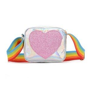 2020 new girls bags fashion rainbow kids bags LOVE glisten girls shoulder bags kids messenger bag girls purses kids purses retail B1268