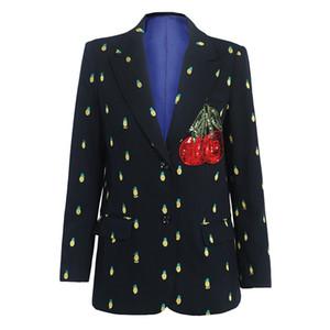 Marque mode de l'automne de luxe haut de gamme féminin rétro dames ananas noir blazer ensemble costume de broderie