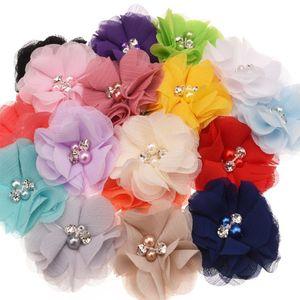 100 unids flor de la gasa de la perla para los accesorios del pelo Flores de Diy para la venda Flor del pelo hecho a mano sin el Hairclip Hairbow J190507