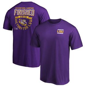 Горячие продажи NCAA LSU Тигры Black College Football 2019 Национальный Короткий рукав Champions мужские дизайнерские футболки Отпечатано Логотипы Фиолетовый