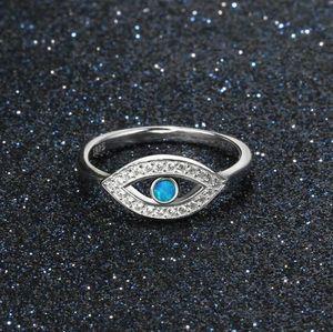 Anelli di malocchio di cristallo blu opale tacchino per le donne Gioielli in argento lega di leghe bel regalo Moda Anelli di dito di malocchio