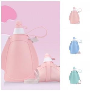 Verschiedene Farben-Silikon-Folding-Wasser-Beutel mit Seil Tragbare Pure Color zusammenklappbarer Wasserflasche Kind-Geschenk-18 gut verkauft 8hfH1