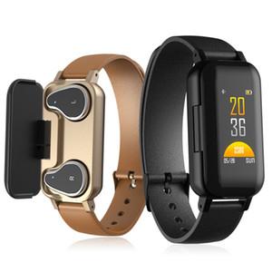 T89 الذكية سوار TWS سماعة بلوتوث للياقة البدنية تعقب رصد معدل ضربات القلب الذكية الاسورة الرياضة ووتش للAndroid و iOS مع حزمة
