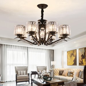 Crystal chandelier lighting for hotel villa living room bedroom dining room American  black pendant lights led hanging lamps