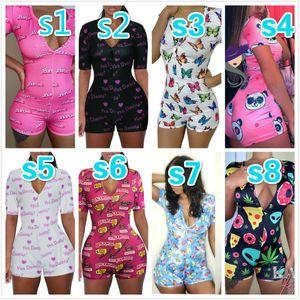 2020 desinger Verão Mulheres Jumpsuits macacãozinho Sexy profundo decote em V Botão Shorts de pijama Onesies Calças Bodycon Shorts playsuit Macacões fêmeas