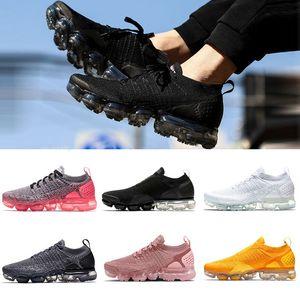 Nike Air VaporMax Flyknit 2.0 Cushion Running Shoes Triple negro blanco olímpico gris profundo para mujer para hombre diseñador de zapatos gimnasio al aire libre al por mayor