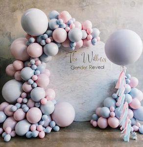 Baby Gender Rivela feste favore Balloon Arch Garland Kit pastello Macaron Rosa Blu lattice palloni Decorazione Baby Shower T200624