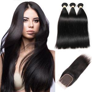 Mechón de cabello humano con HD del encierro del cordón brasileño Paquetes Cabello liso Virgen extensiones de cabello libre / Medio / Cierre de la tercera parte 4 * 4