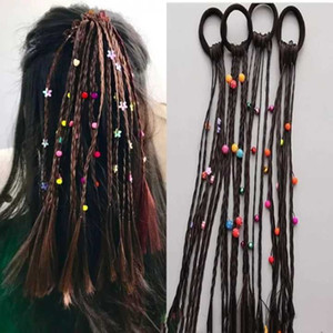 Children's Wig Hair Accessories Festive Performance Color Beads Twist Braid Little Braid Ponytail Wig Hair Ring