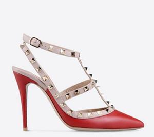 Gerçek ayakkabılar! b9005 terzi 34/40/41/42 hakiki deri siyah strapy sivri topuklu ayakkabıların sandalet lüks tasarımcı pompaları yapılan