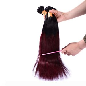 Ombre Brazilian Burgundy Virgin Hair 4 Bundles Cheap Straight 1b Burgundy 99j Human Hair Weave Two Tone Colored Red Hair Wefts Extensions