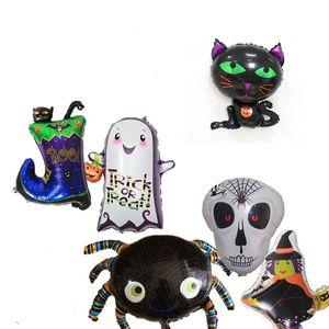 Fontes do partido de halloween Balões de Halloween Fantasma Crânio Bruxa Gato Bota Aranha Aranha Decoração de Halloween Balão Folha JK1909