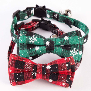 Christmas dog Cat Collar Safety Buckle Bow Detachable Snowflake Pet Collar Plaid Collar Decoration HH9-2592