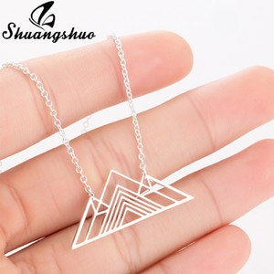 Shuangshuo Trendy Art Deco Triangle Collana Mountain Charm Geometric Collane Escursionismo Outdoor Catena montuosa Pendenti Collane