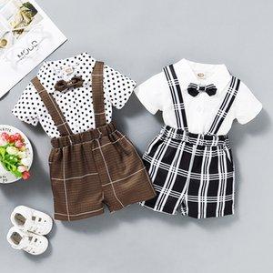 Yenidoğan Gentleman Giyim Baby Boy Kısa Sleeve Nokta Baskı Gömlek + Ekose Suspender Kısa Pantolon 2pcs / set Infant Bebek Giyim M1945 ayarlar