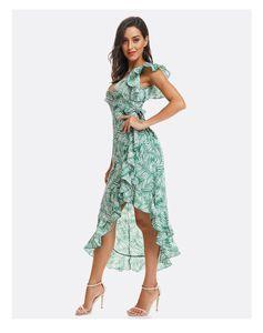 Avrupa güzellik ince ve ruffled düzensiz yaz yeni şifon baskı çiçek yaprak elbise yeşil ve kırmızı renk