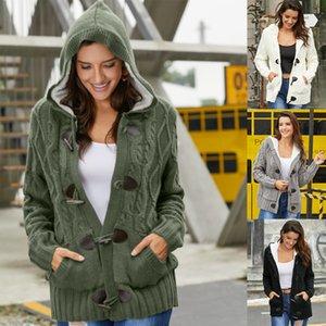 2019 Hiver Femmes Cardigan Mode chaud Casual manteau à manches longues Pocket Plus velours en vrac à capuchon Outwear Tops