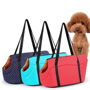 Poliéster Esponja Slant Mascotas Bolsa Al Aire Libre Pequeño Patrón de Punto Perros Bolsas Rojo Azul Multi colores Pet Dog Carrier Moda 19pp L1