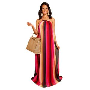 Halter Backless Casual Plaj Elbise Yaz Kadın Dijital Baskı Soğuk Omuz uzun Maxi Elbise Yaz Artı Boyutu Boho Elbise Vestidos 3XL NB-1539