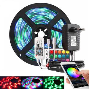 Música / Bluetooth / WiFi adaptador RGB LED de luz de tira 2835 DC 12V impermeable 5M 60 LED / m cinta diodo LED de cinta Controlador de potencia