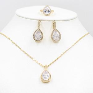 Vic doria 585 ouro zircão colar brincos anel set rosa noiva bride colar brincos anel elegante festa de férias mulheres je