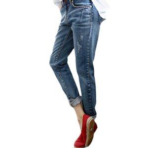 Boyfriend джинсы для женщин Горячих продаж Урожая Проблемного Regular спандекса рваных джинсы Denim мытого брюки Женщина джинсы C1028