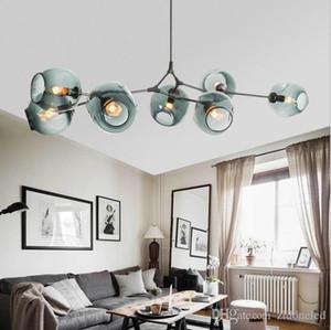 Vidro LED Pendant Light Nordic Art Glass Chandelier Globe Ramificação bolha Candelabro por Sala Quarto