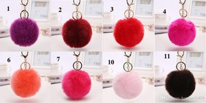 Real Rabbit Fur Ball Keychain Soft Fur Ball Lovely Gold Metal Key Chains Ball Plush Keychain Car Keyring Bag Earrings Accessories