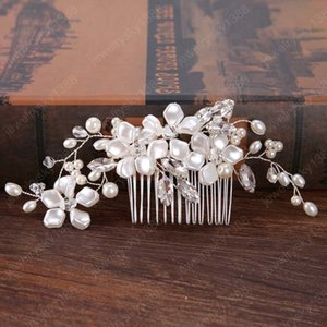 Wedding Hair Accessories For Bride Polygon Rhinestone Crystal Pearl Flower Hair Combs Tiaras Women Floral Plant Hairwear Jewelry