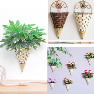 Conical Wicker Wall Decoration Decorative Flower Basket (excluding green plants)