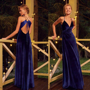 Elegant Velvet Evening Dresses 2020 Deep V Neck Formal Prom Gowns Criss Cross Straps Back Custom Runway Fashion Dress