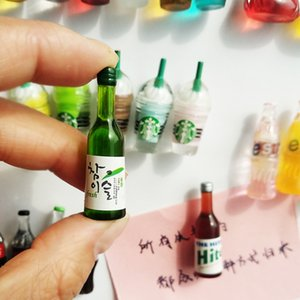 Korean Creative Refrigerator Magnet Magnet Set 3D Stereo Personality Simulation Wine Bottle Magnet Decorative Message Stickers