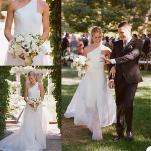 Elegant White Wedding Dresses Country Style One Shoulder Overskirt Bridal Wedding Gowns Front Split vestidos de novia