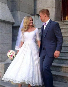 2019 New Simple Short A-Line Wedding Dresses Scoop Neck Lace Appliques Half Sleeves Ankle Length Sexy Plus Size Custom Made Bridal Gown