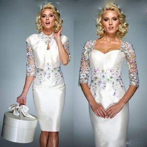 2020 vaina vestidos de la madre con el abrigo de encaje con cuentas apliques longitud de la rodilla Vestidos de noche formal de encargo de los vestidos de boda de invitados