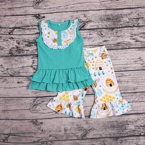 تصميم جديد طفل بنات مجموعة ملابس الحليب الحرير فستان بلا أكمام الأعلى + سروال 2PCS الصيف الزي ملابس اطفال صيف بوتيك تتسابق