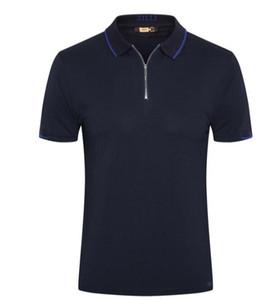 Camiseta de cuero encanto de la manera de la cremallera de la solapa nueva marea ZILLI de manga corta de verano 2019 de cuero bordado de cuero británica