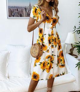 فساتين عارضة الازياء فضفاض الملابس النسائية عباد الشمس طباعة زر اللباس للمرأة قصيرة الأكمام الخامس الرقبة السيدات