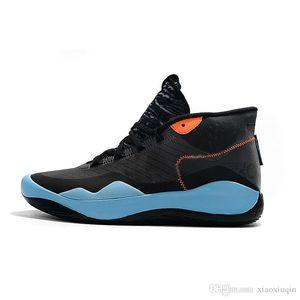 Ucuz Erkek 12 basketbol ayakkabıları Siyah Mavi Warriors Ev yeni erkek kız 90s çocuklar kutu boyutu ile Kevin Durant xii 12s spor ayakkabısı tenis kd 5 13