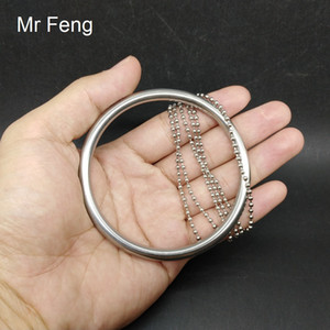 Stainless Steel 6*70 mm Ring 100 mm Chain Classical Magic Trick Game Party Toy ( Model Number H484 )
