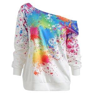 Cores Moda Mulheres de inclinação Neck Manga comprida seção de doces Uma palavra Collar pintura do splatter Imprimir camisola Top