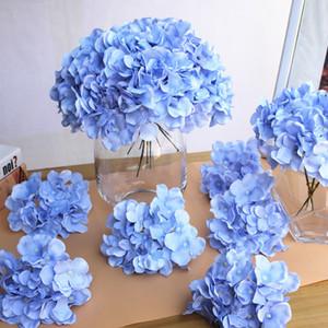 10 adet / grup Lüks Renkli Yapay İpek Ortanca Çiçek Başkanı Ev Dekorasyon DIY Düğün Çiçek Duvar Çelenk Aksesuarları
