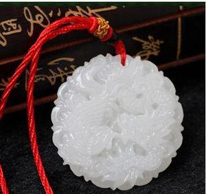 Doğal xinjiang beyaz yeşim ejderha ve anka şanslı kolye ücretsiz teslimat