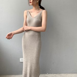 RZIV 2019 Autumn winter female dress slim casual solid color knit vest dress sling harness sweater dress Y200601
