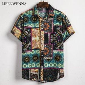2020 New Fashion Casual Men's Shirt Short Sleeve Print Hawaii Shirt Men Summer New Design Mens Beach Shirts Men Flower Shirt XXL MX200518