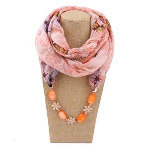 Femmes ethnique pendentif perlé écharpe glands artificiels collier collier floral imprimé Bohème mousseline Infinity cercle boucle écharpe châle
